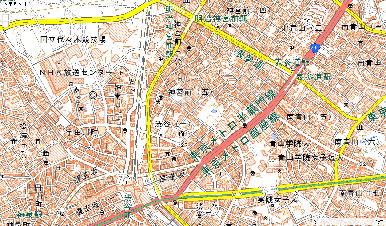 現在の渋谷周辺地図