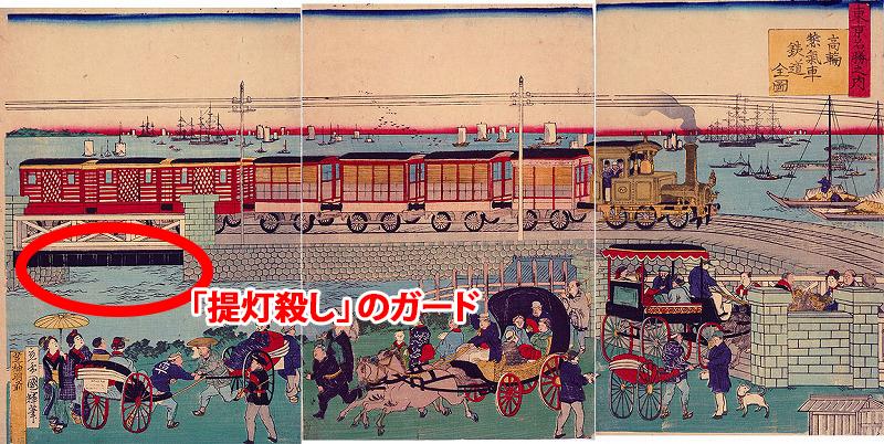 東京名勝之内-高輪蒸気車鉄道全図