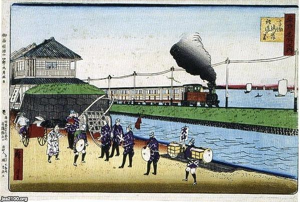 東京名所之内 高輪海岸鉄道の景