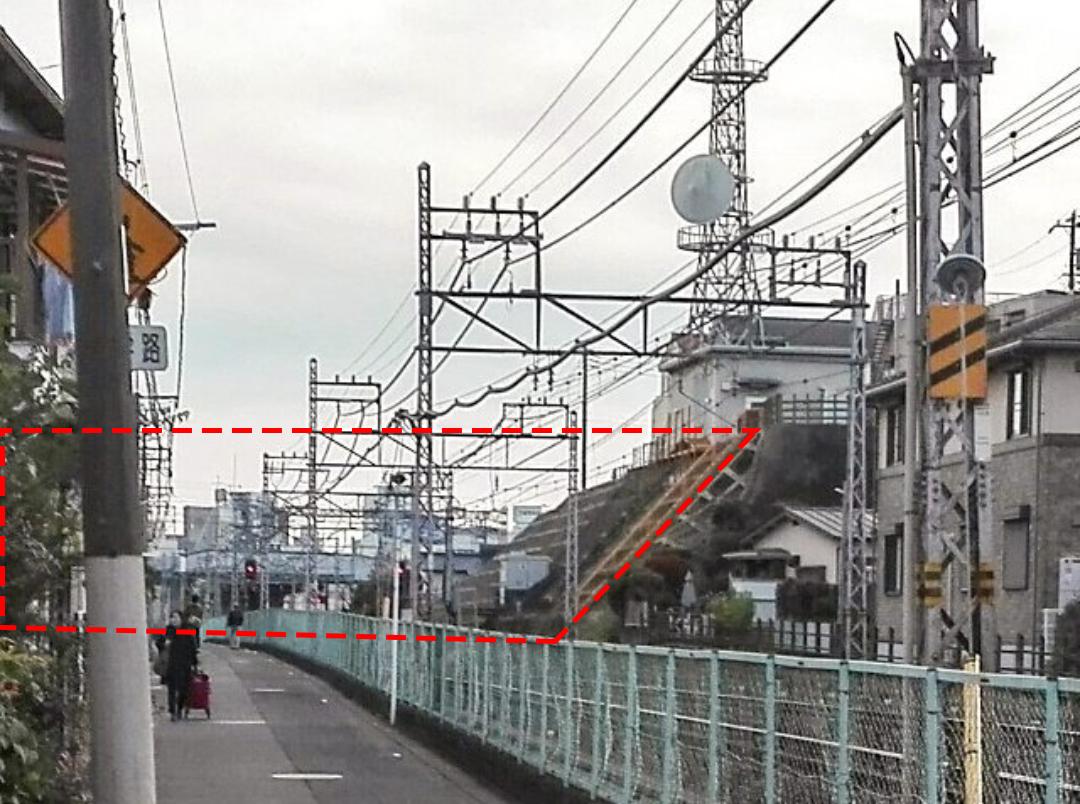 小田原城総構え 小田急線敷設により切削された土塁