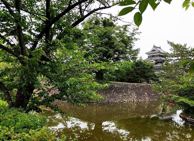 松本城北側の堀端から樹木越しに捉えた松本城の堀と石垣と天守