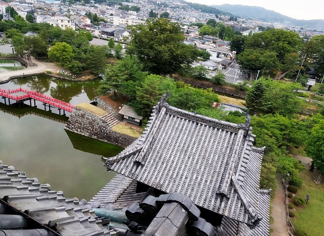松本城天守最上階からの文句のつけようがない眺望
