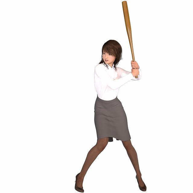 神スイングをする女性バッター