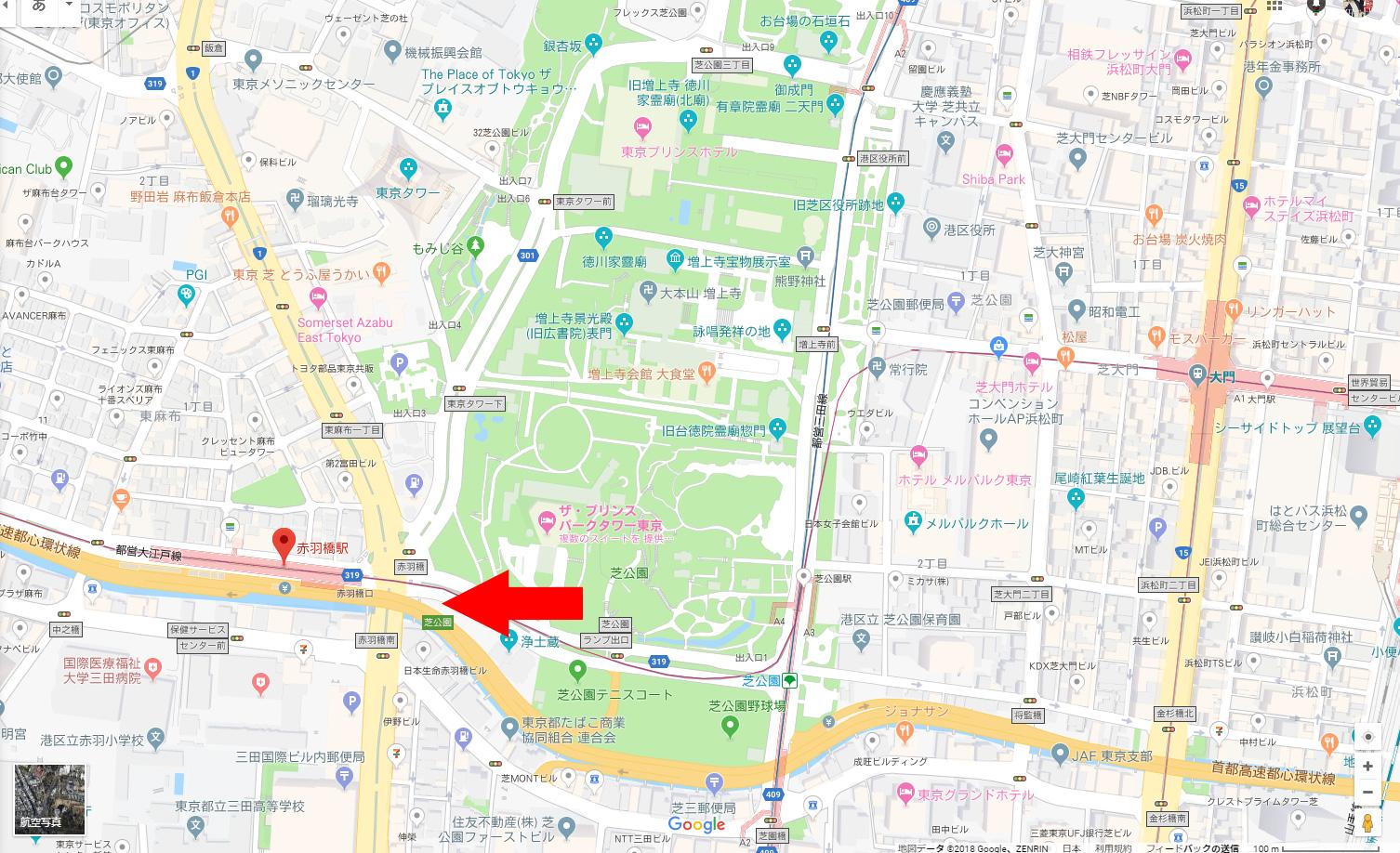 現在の赤羽橋周辺図 Googleマップから引用