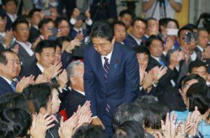 详讯:安倍连续第3次当选自民党总裁 欲任期内实现修宪