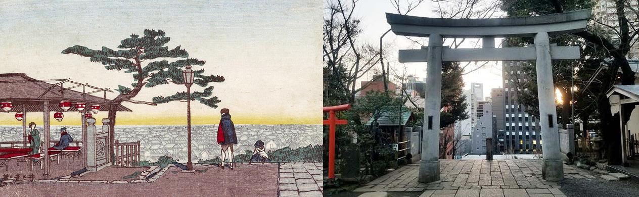 愛宕山山頂(愛宕神社)の今昔対比