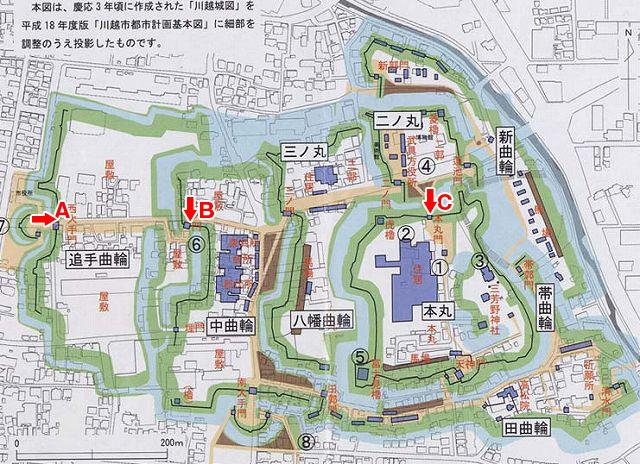 川越城縄張図(アルファベットは写真のアルファベットに対応)