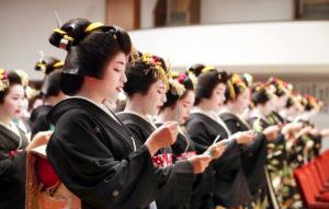 """日本京都五花街110名艺妓举行""""始业式"""""""