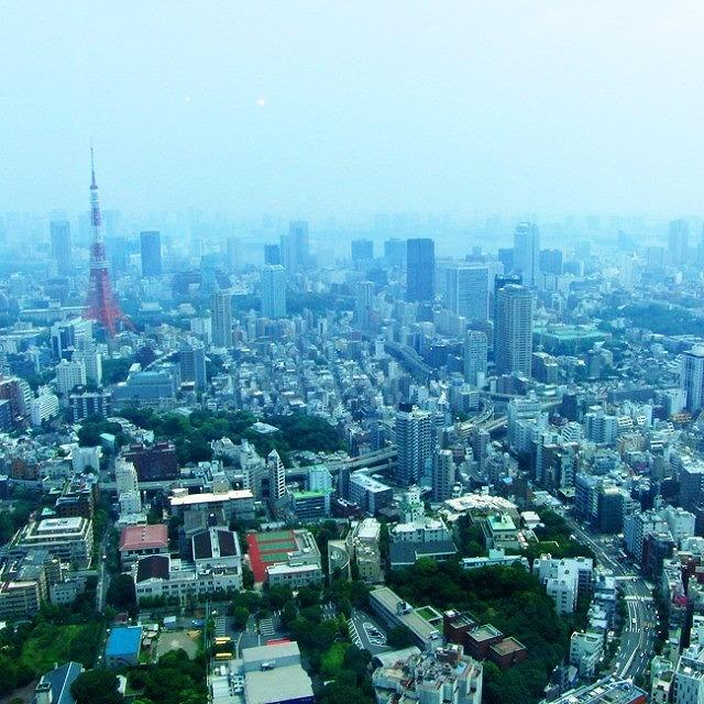 六本木ヒルズ52F 東京シティビューにあるカフェからの眺め