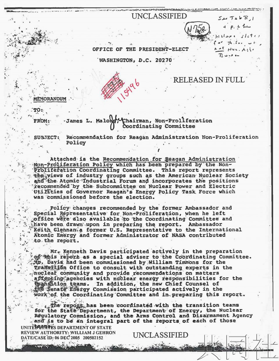 美国文件显示亲日说客推动允许日本乏燃料再处理