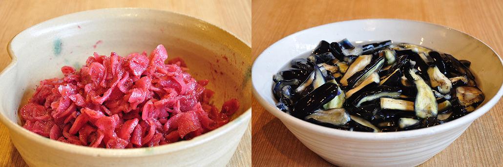 たくあん梅肉和え(左)となす(右) お茶漬けバイキング|阿古屋茶屋|清水寺から徒歩6分 HPから引用