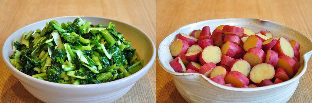 小松菜(左)とさつまいも(右) お茶漬けバイキング|阿古屋茶屋|清水寺から徒歩6分 HPから引用