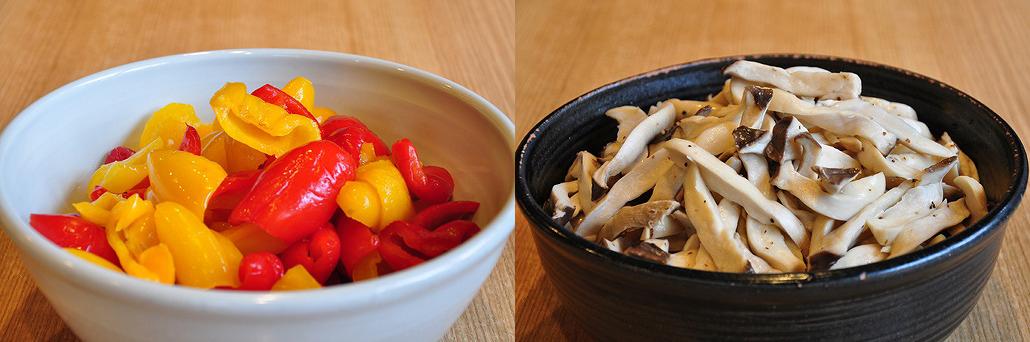 パプリカ(左)とエリンギ(右) お茶漬けバイキング|阿古屋茶屋|清水寺から徒歩6分 HPから引用