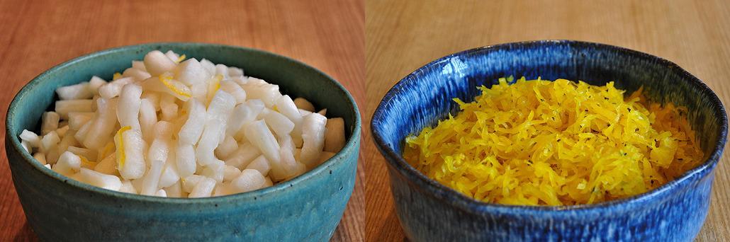 ゆず大根(左)とたくあんしそ風味(右) お茶漬けバイキング|阿古屋茶屋|清水寺から徒歩6分 HPから引用