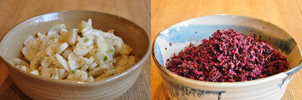ごま大根(左)と柴漬(右) お茶漬けバイキング|阿古屋茶屋|清水寺から徒歩6分 HPから引用