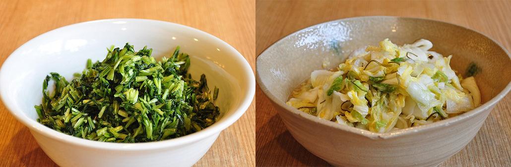 壬生菜(左)と白菜(右) お茶漬けバイキング|阿古屋茶屋|清水寺から徒歩6分 HPから引用