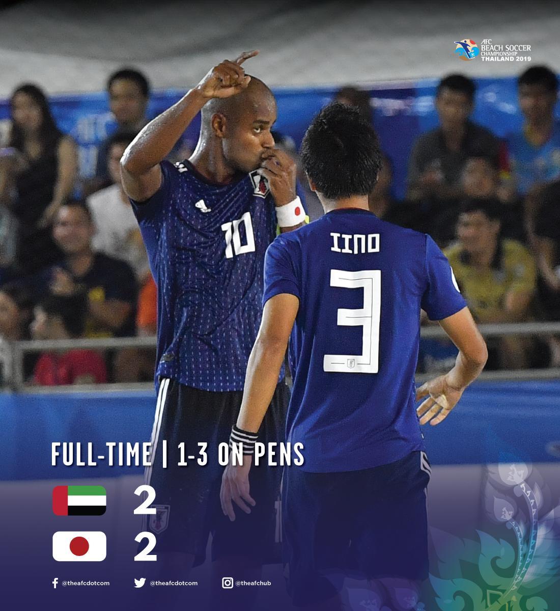 点杀阿联酋,日本成首支沙滩足球亚洲杯三冠王球队