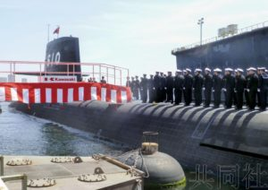 川崎重工神户工厂举行海自新潜艇交付仪式