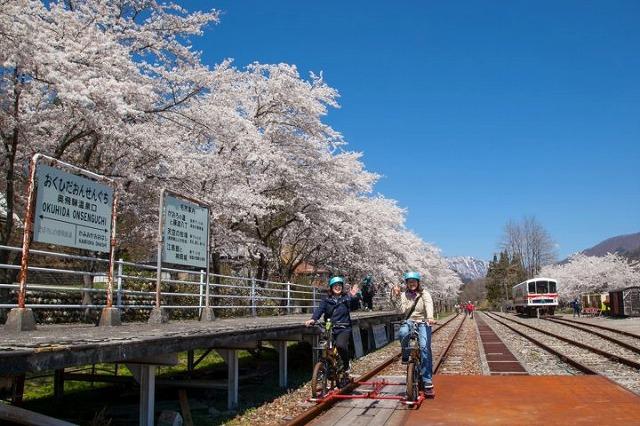 花見 レールマウンテンバイク Gattan Go!! - 自転車とレールで風になる、岐阜県飛騨市のロストライン・アクティビティ!