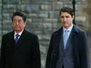 安倍访加拿大会杜鲁道同赞CPTPP