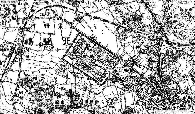 1896~1909年の東池袋 中央の四角で囲まれたエリアが巣鴨刑務所