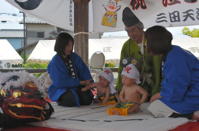 日本三田天满神社举办幼儿哭声比赛 祈祷孩子健康成长