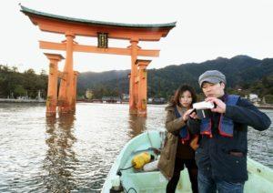 日本严岛神社海上鸟居6月整修将设缩小版鸟居