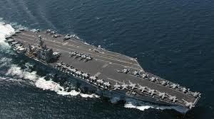 美核动力航母里根号驶离横须贺港