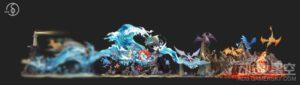 《精灵宝可梦》暴鲤龙组雕像 怒吼出水气势十足