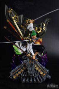 《海贼王》和之国索隆战斗雕像 和服和三刀流更配