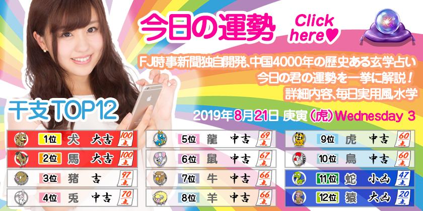 今日の運勢 2019年8月21日Wednesday 3 庚寅(虎)
