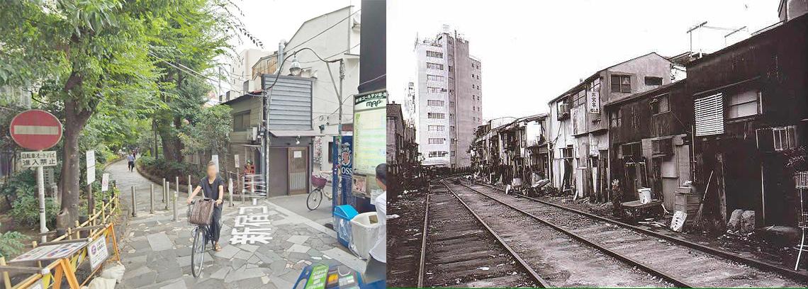 新宿ゴールデン街裏手の遊歩道(旧・都電専用軌道)の今昔