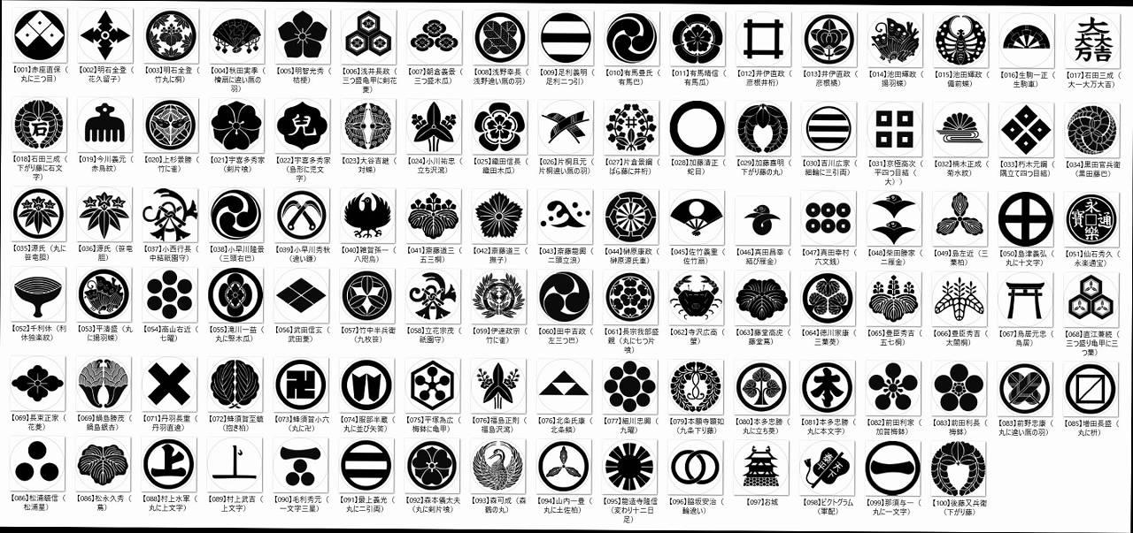 家紋ワイヤレスイヤホンに入れられる家紋 全83種 小川新聞店HPから引用