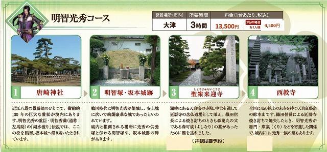 戦国無双タクシー 明智光秀コース 近江タクシーHPから引用