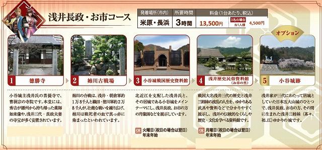 戦国無双タクシー 浅井長政・お市コース 近江タクシーHPから引用