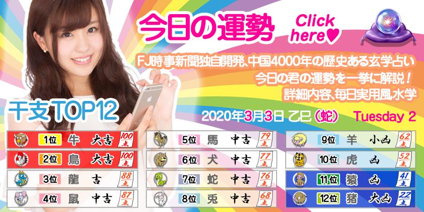 今日の運勢 2020年3月3日Tuesday 2 乙巳(蛇)