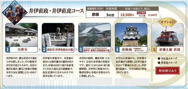 戦国無双タクシー 井伊直政・井伊直虎コース 近江タクシーHPから引用