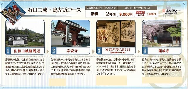 戦国無双タクシー 石田三成・島左近コース 近江タクシーHPから引用