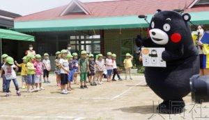 熊本熊赴托儿所呼吁洗手防止感染新冠