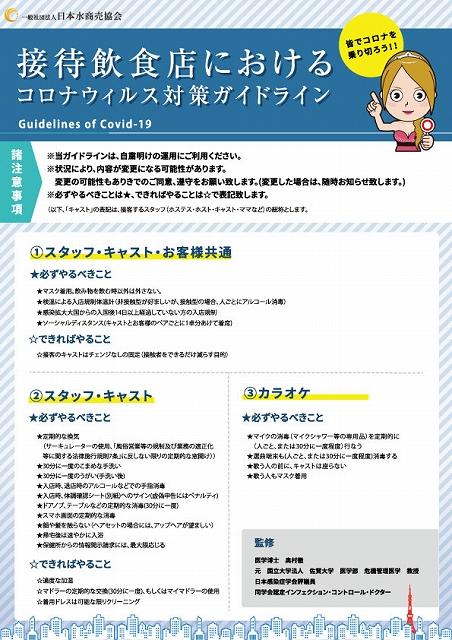 接待飲食店における新型コロナウイルス対策ガイドライン 一般社団法人日本水商売協会公式サイトから引用