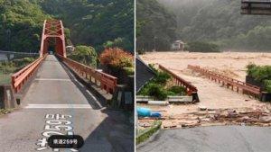 九州暴雨成灾!球磨川钢构桥被冲断半截消失画面曝光