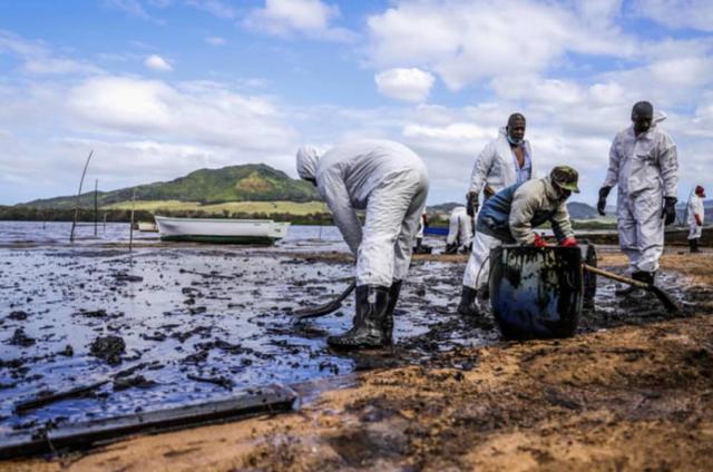 日本货船搁浅漏油污染原始海滩,毛里求斯民众捐头发清理浮油