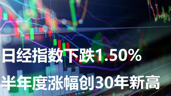 日经指数下跌1.50% 半年度涨幅创30年新高