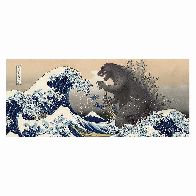 フェイスタオル 富嶽三十六景大怪獣ノ図 ゴジラ・ストア | GODZILLA STORE HPから引用