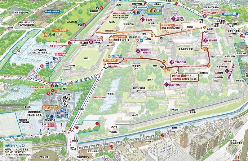 熊本城「特別公開第2弾」の「特別公開 北ルート」と「特別公開 南ルート」 熊本城公式サイトから引用
