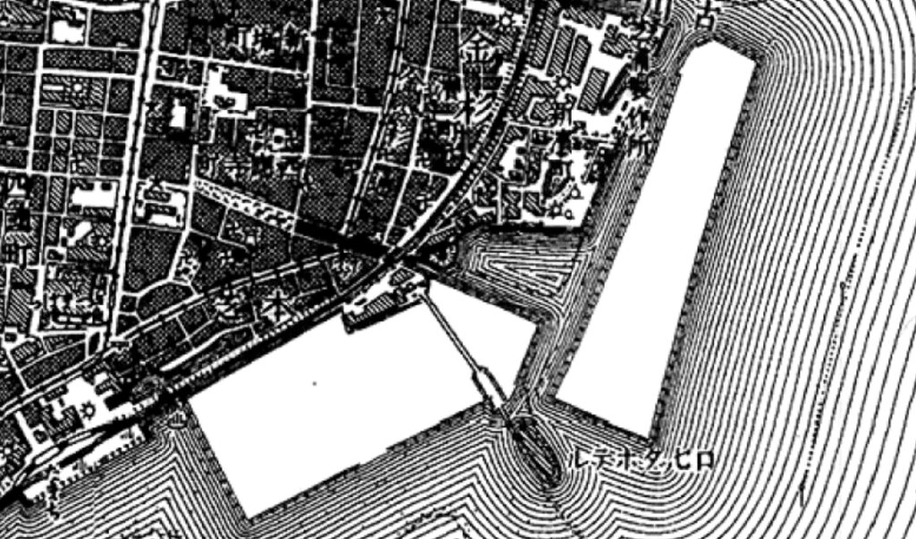 1/20000「東京南部」[明治42年測図大正4年製版 1896-1909]の芝浦地区の拡大図及びロセッタホテル